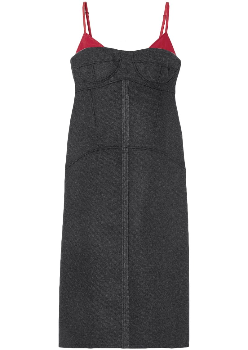 Kenzo Woman Satin Twill-trimmed Wool-blend Midi Dress Anthracite