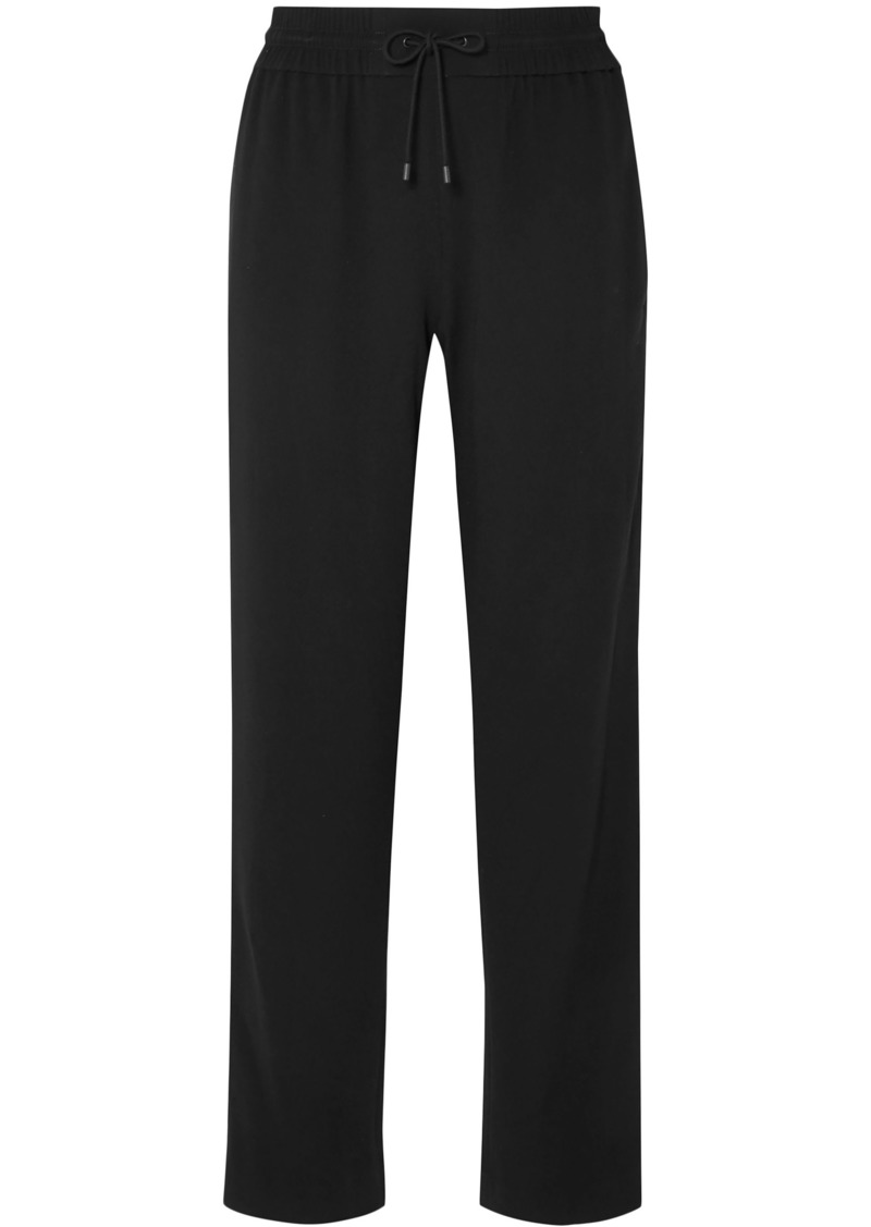 Kenzo Woman Striped Crepe Track Pants Black