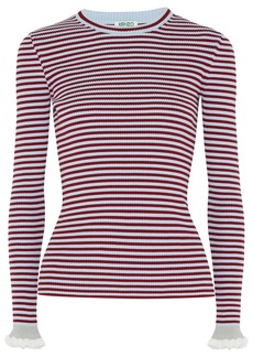 Kenzo Woman Striped Ribbed Cotton-blend Top Claret