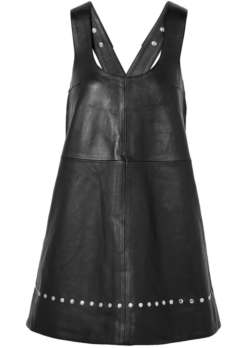 Kenzo Woman Studded Leather Mini Dress Black