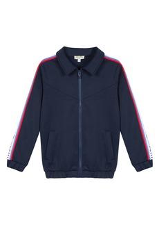 Kenzo Zip-Up Fleece Cardigan w/ Logo Taping Trim  Size 2-6