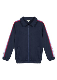 Kenzo Zip-Up Fleece Cardigan w/ Logo Taping Trim  Size 8-12