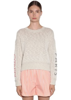 Kenzo Knit Sweater W/ Embroidered Sleeves