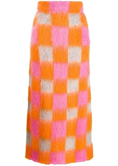Kenzo knitted checkered skirt