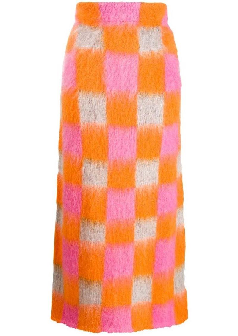 Kenzo knitted checkered skirt