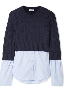 Kenzo Layered Cable-knit Wool And Cotton-poplin Sweater