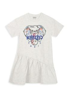 Kenzo Little Girl's & Girl's Embroidery Graphic Logo Ruffle Dress