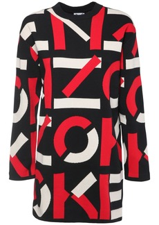 Kenzo Logo Intarsia Knit Cotton Blend Dress