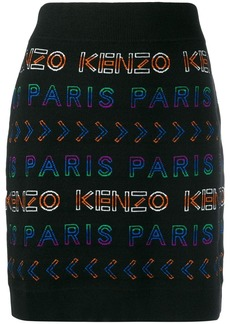 Kenzo logo intarsia knitted skirt