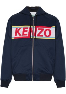 Kenzo logo panelled cotton zip-up hoodie