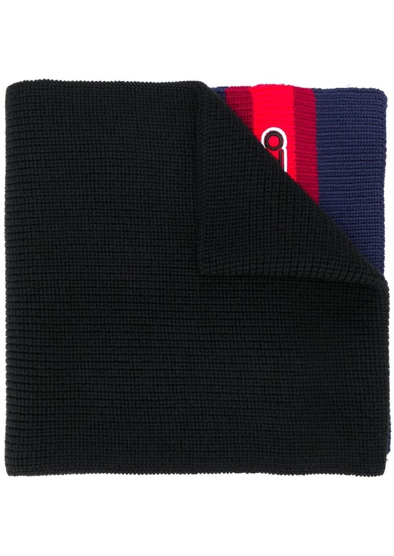Kenzo logo patch knitted scarf