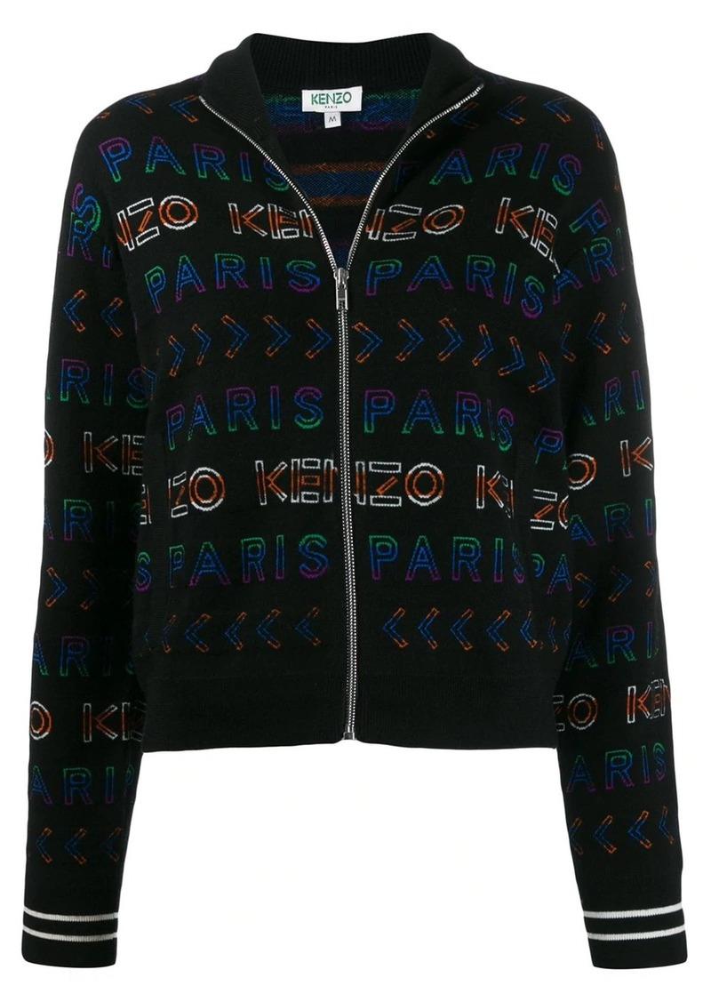 Kenzo logo print knitted jacket