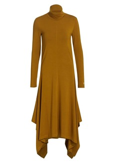 Kenzo Long-Sleeve Handkerchief Midi Dress