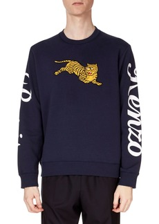 Kenzo Men's Jumping-Tiger Embroidered Cotton Sweatshirt w/ Sleeve-Print