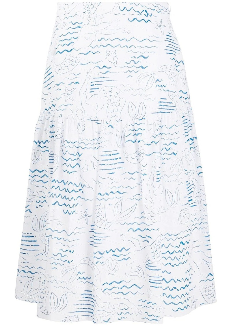 Kenzo mermaid print A-line skirt