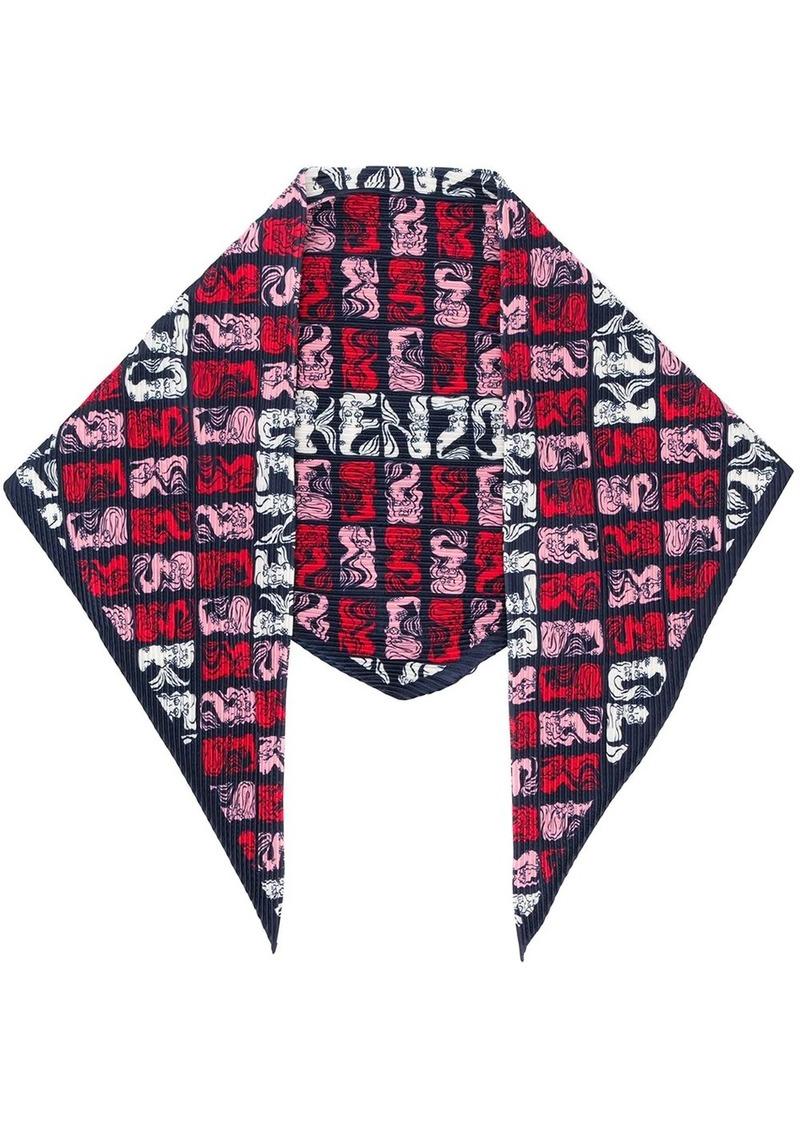 Kenzo mermaid-print pleated scarf