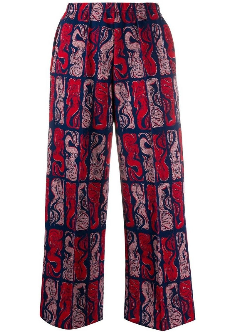 Kenzo Mermaids-print wide-leg trousers