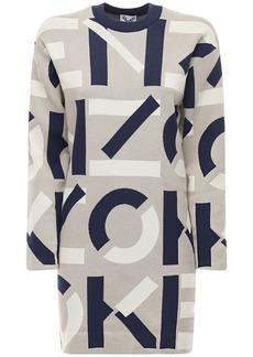 Kenzo Monogram Cotton Blend Knit Mini Dress