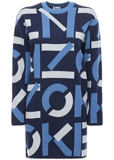 Kenzo Monogram Cotton Blend Knit Mini Dress