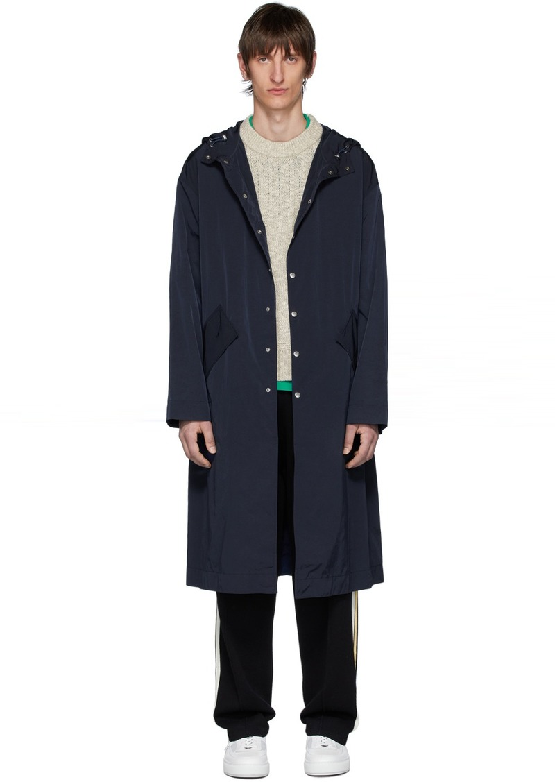 Navy 'Kenzo Kanji' Hooded Raincoat