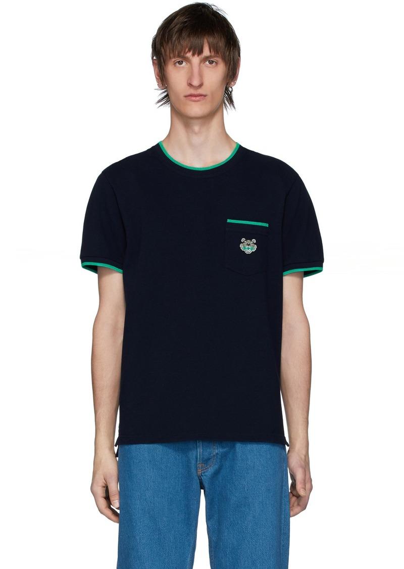 Kenzo Navy Piqué Tiger Crest Pocket T-Shirt