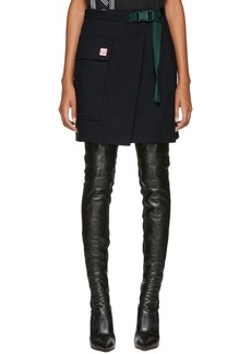 Kenzo Navy Wrap A-Line Miniskirt