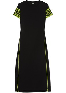 Kenzo Neon Printed Cotton-jersey Midi Dress