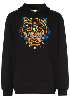 Kenzo neon tiger embroidered hooded cotton jumper