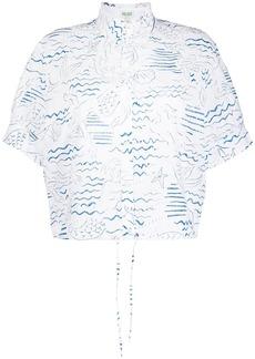 Kenzo ocean-print eyelet lace blouse