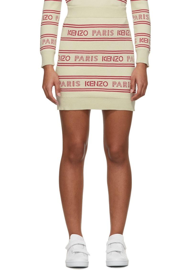 Kenzo Off-White All-Over Logo Miniskirt