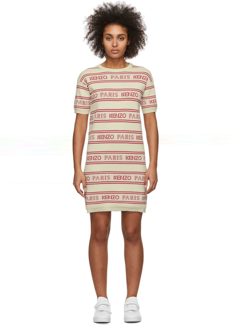 Kenzo Off-White All-Over Logo Short Dress