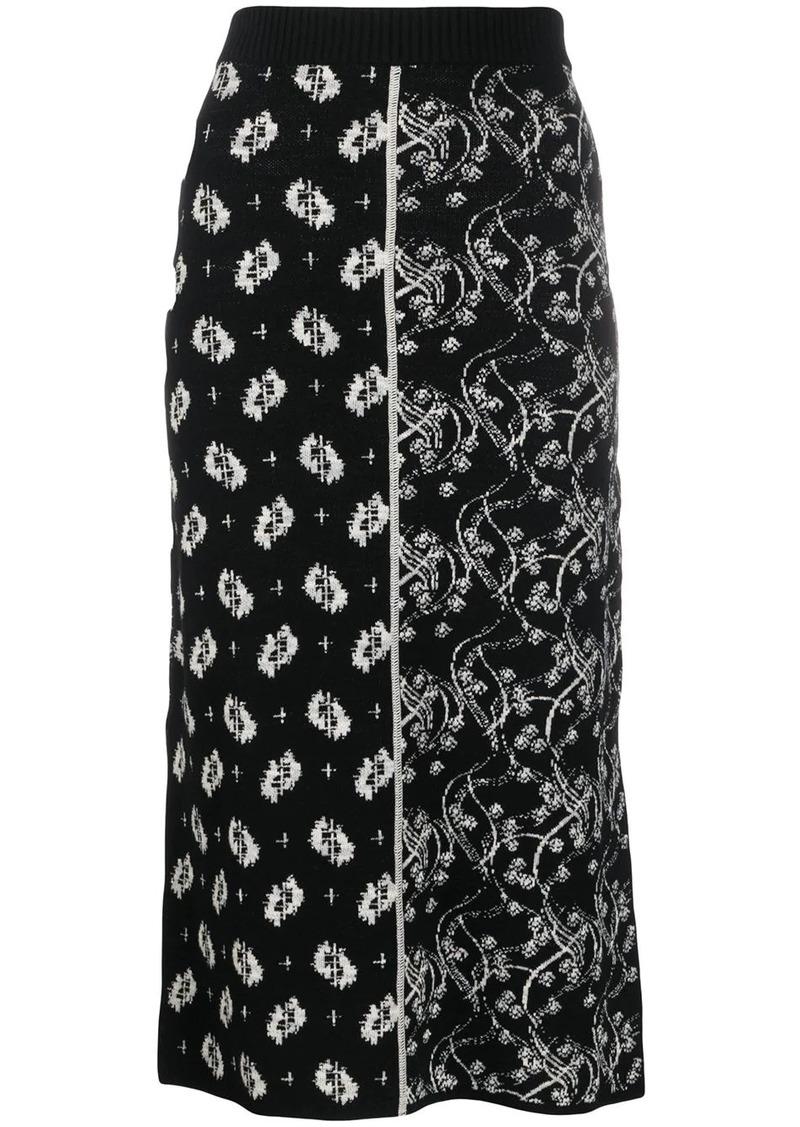 Kenzo ornate-jacquard split-hem skirt