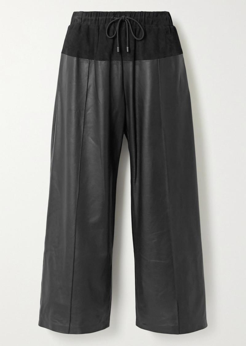 Kenzo Paneled Leather And Nubuck Culottes