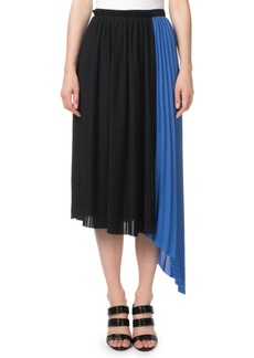 Kenzo Pleated Asymmetrical Colorblock Midi Skirt