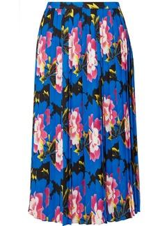 Kenzo Pleated Floral-print Crepe Midi Skirt