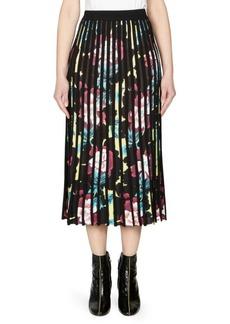 Kenzo Pleated Floral Midi Skirt