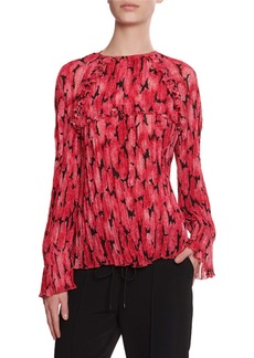 Kenzo Pleated Long-Sleeve Printed Blouse