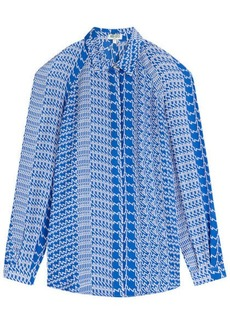 Kenzo Printed Silk Blouse with Cut-Out Shoulders