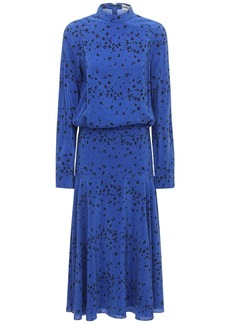 Kenzo Printed Silk Crepe De Chine Midi Dress
