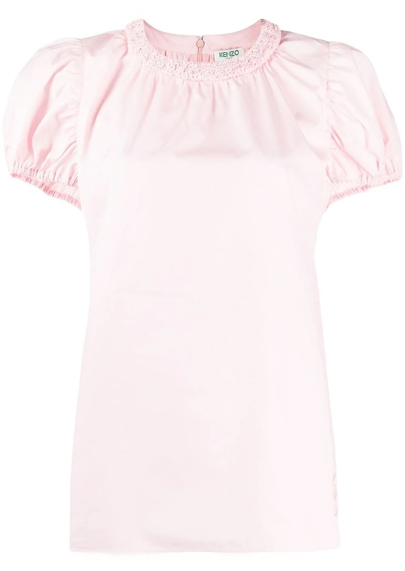 Kenzo ruched neck cotton blouse