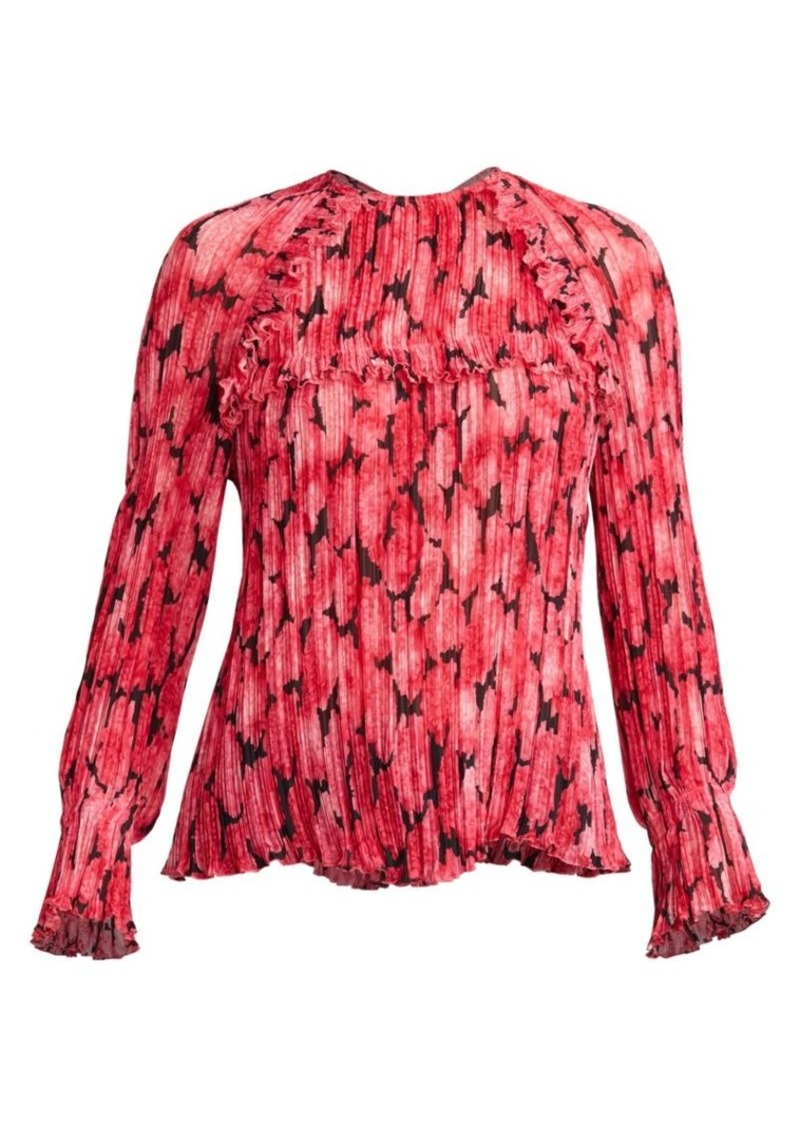 Kenzo Ruffled & Pleated Floral Blouse