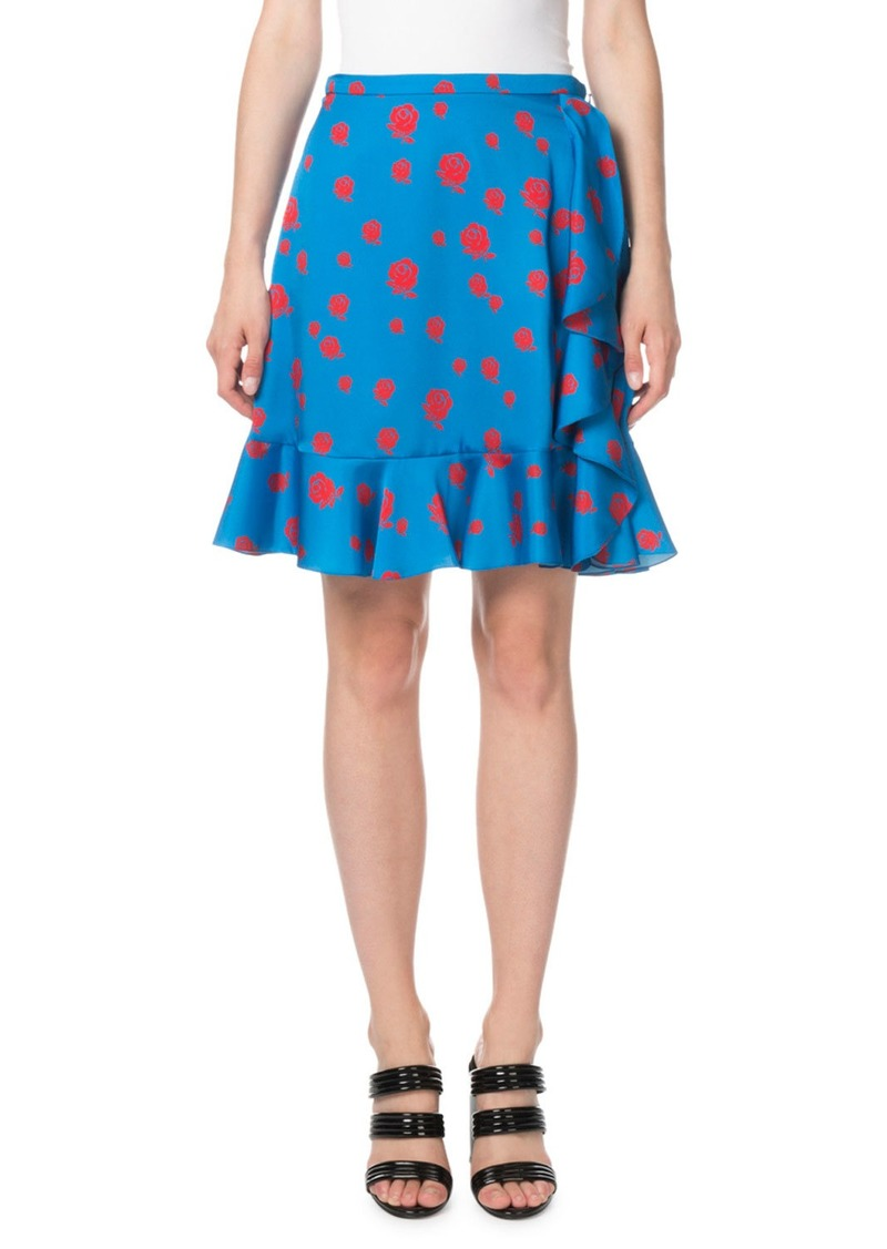 Kenzo Ruffled Rose-Print Short Skirt