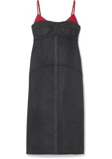 Kenzo Satin Twill-trimmed Wool-blend Midi Dress