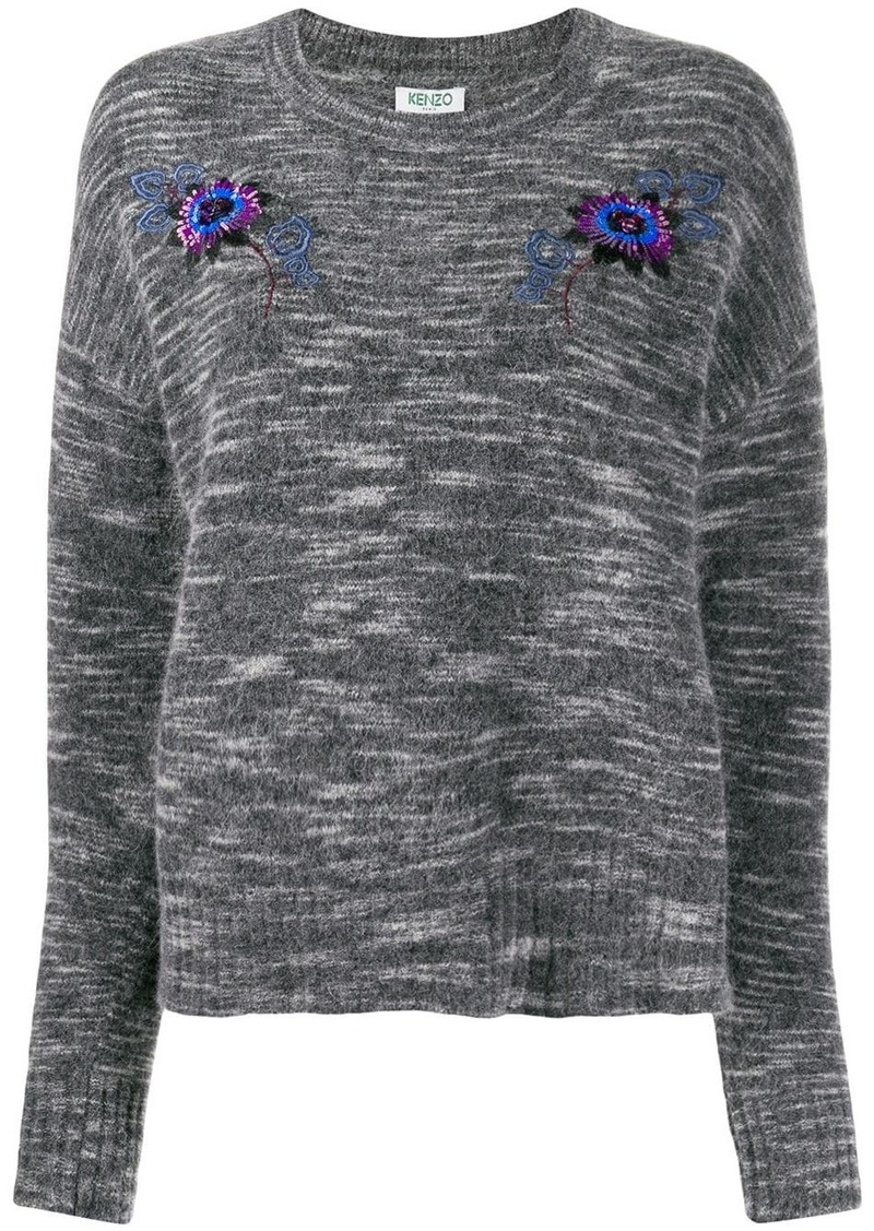 Kenzo sequin embroidered crew neck sweater