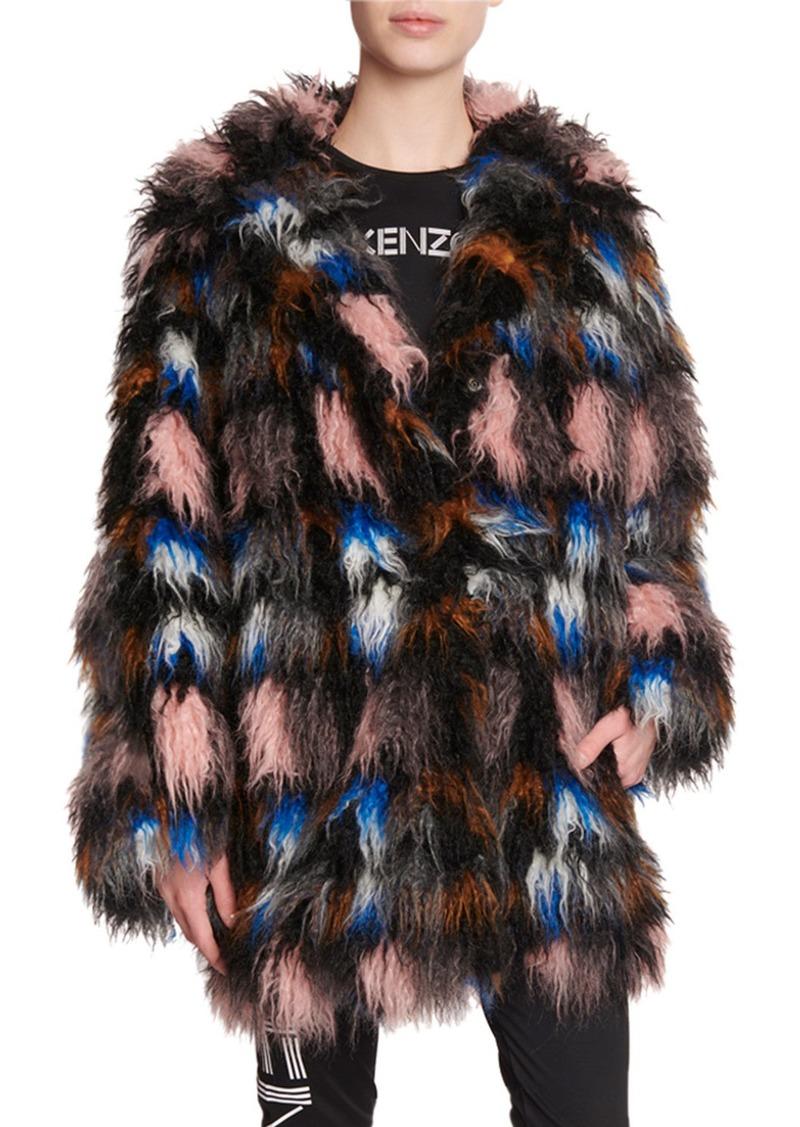 Kenzo Shaggy Snap-Front Faux Fur Coat