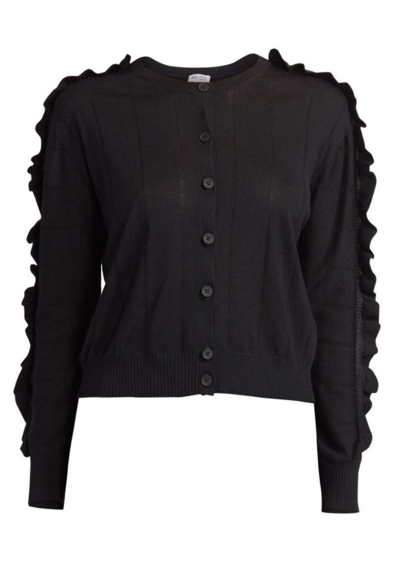 Kenzo Short Ruffle Wool Silk Cardigan