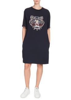Kenzo Short-Sleeve Tiger Logo Tee Dress with Pockets