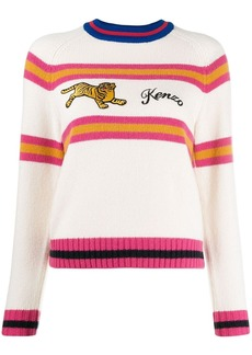 Kenzo stripe embroidered tiger jumper
