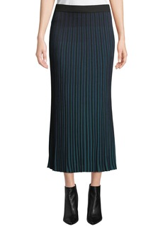 Kenzo Striped Knit Pleated Midi Skirt