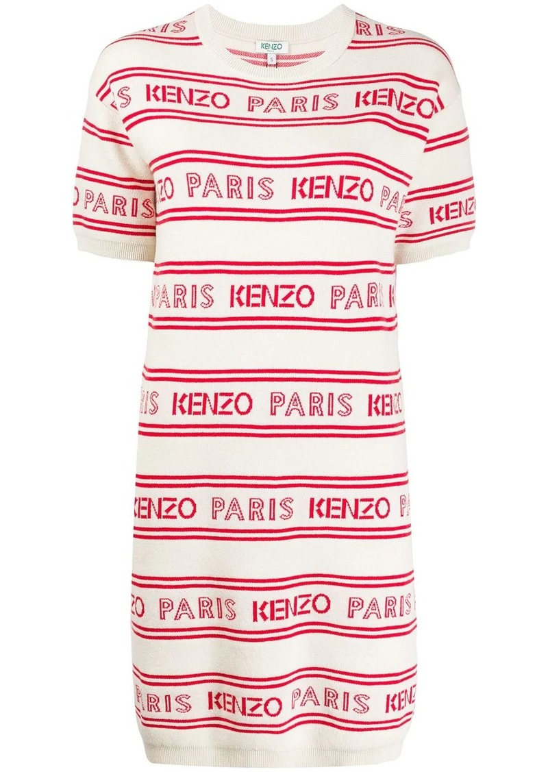 Kenzo striped logo print knitted dress